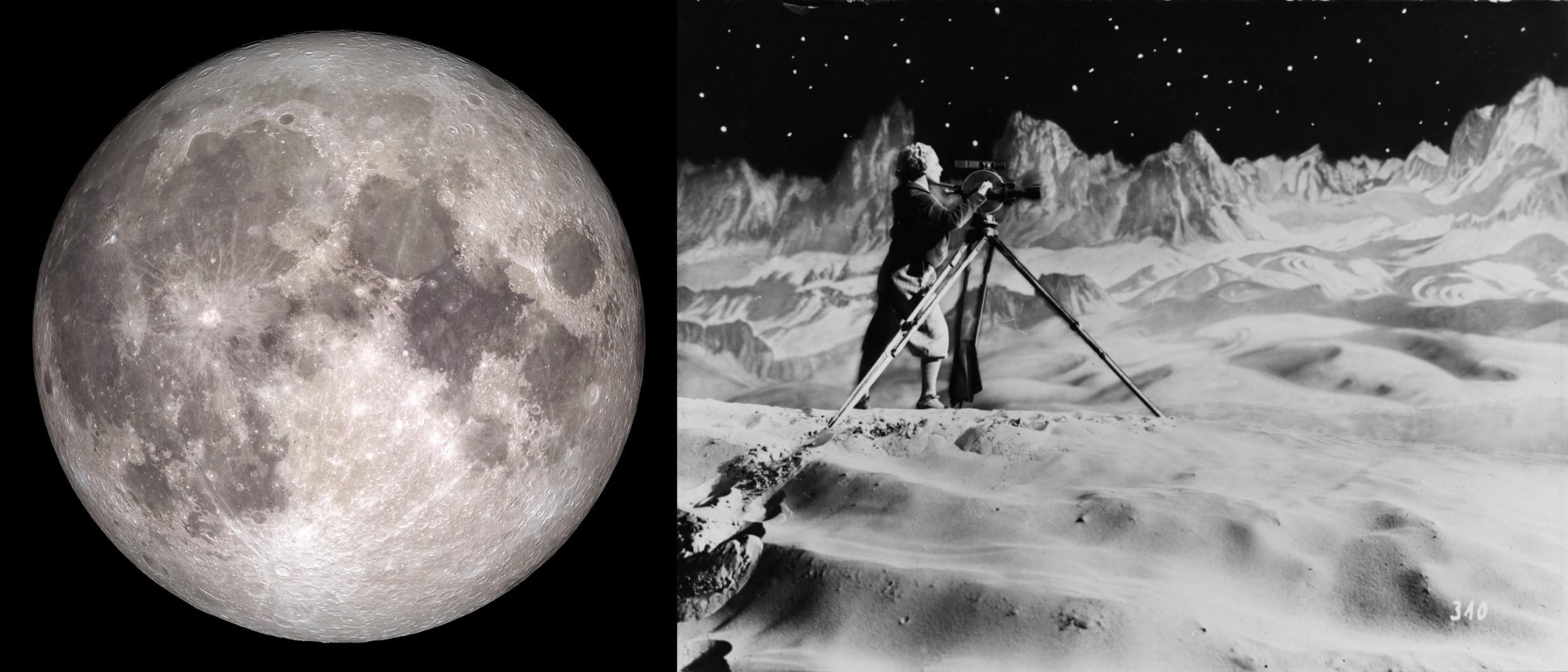 """© Moon on Christmas 2015 – NASA/Goddard/Lunar Reconnaissance Orbiter © """"La femme sur la lune"""" de Fritz Lang, 1929"""